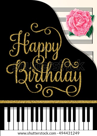 Happy Birthday Greeting Cards Design With Classic Music Background And Rose Vector Illustration