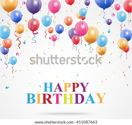 Happy Birthday greetings with balloon and confetti
