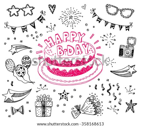 happy birthday hand drawn