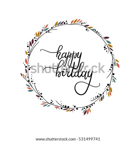 Happy Birthday Hand Lettering Greeting Card Vector Illustration