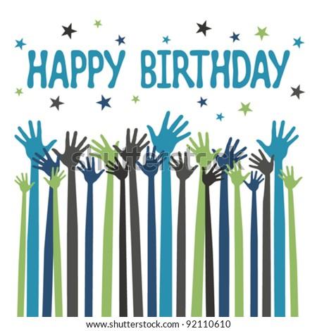 Happy Birthday Hands Card Design. Stock Vector 92110610