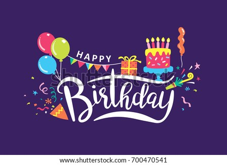 Happy birthday handwritten lettering and colorful party elements