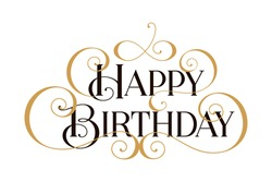 Happy Birthday. Handwritten modern brush black text, gold pinstripe, white background. Beautiful lettering invitation, greeting, prints, posters. Typographic inscription, calligraphic design vector