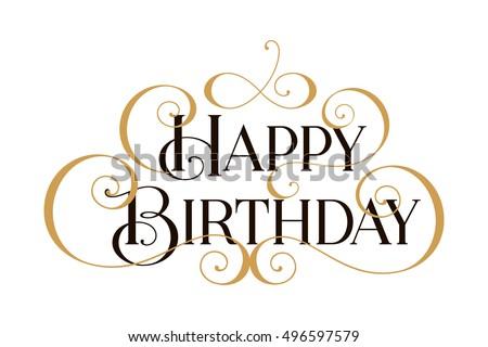 Happy Birthday. Handwritten modern brush black text, gold pinstripe, white background. Beautiful lettering invitation, greeting, prints, posters. Typographic inscription, calligraphic design vector Photo stock ©