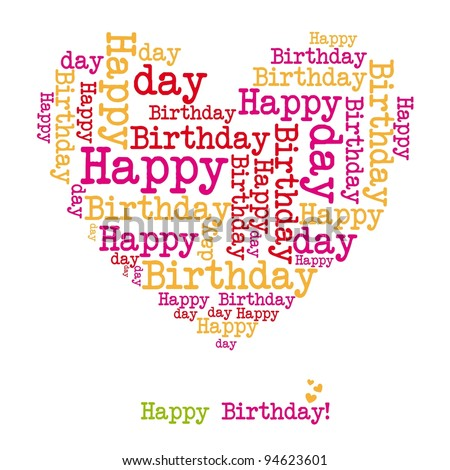 happy birthday heart isolated over white background. vector