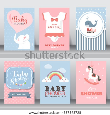 happy birthday, holiday, baby shower celebration greeting and invitation card.  there are shoes, moon, dress. layout template in A4 size. vector illustration. text can be added - Shutterstock ID 387593728