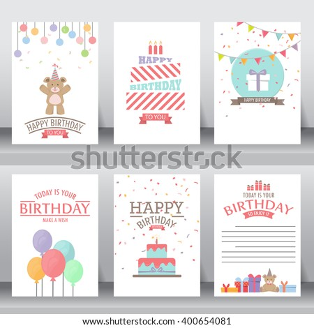 happy birthday, holiday, christmas greeting and invitation card.  there are teddy bear, gift boxes, confetti, cake and balloon. vector illustration