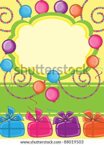 Happy Birthday Invitation Card Stock Vector 88019503 :