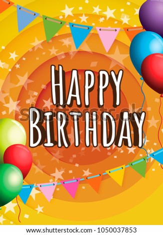 happy birthday invitation card design - Shutterstock ID 1050037853