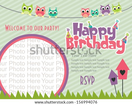 Birthday invite vector download free vector art stock graphics happy birthday invitation card design vector illustration stopboris Image collections