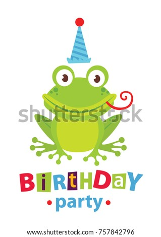 Happy Birthday Invitation For Party Or Greeting Card With Sea Animals And Life Vector