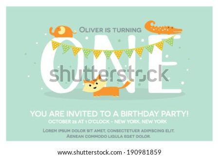 Shutterstock Happy Birthday Invitation Template for One Year Old in Vector