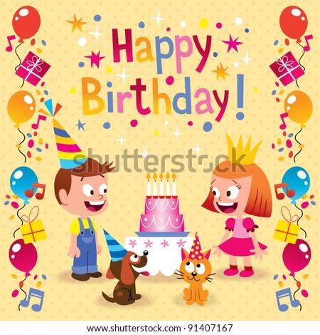 birthday cards cartoon vector illustrator vectors image