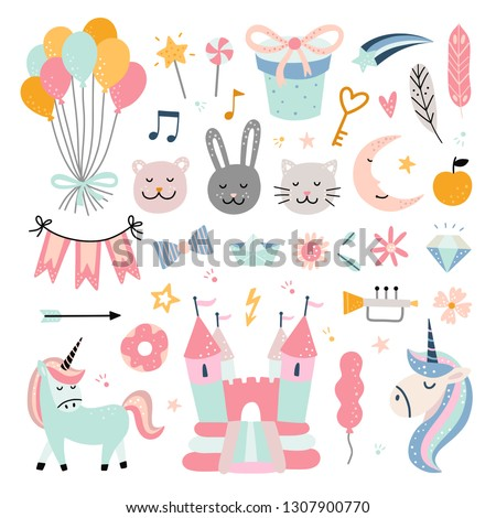 Happy birthday kids vector set. Funny toys, creatures, bouncy castle and unicorns on white background. Elements for decoration children's party