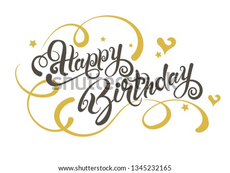 Happy Birthday. Lettering design  #1345232165