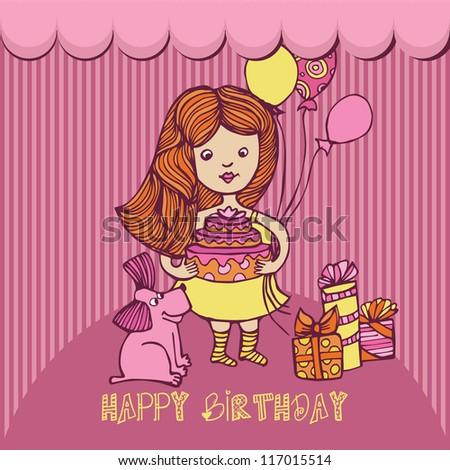 happy birthday little girl ez canvas