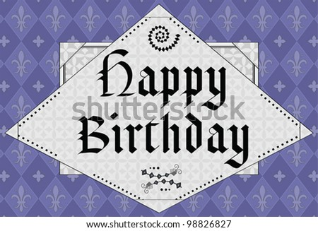 Happy Birthday - middle age design - stock vector