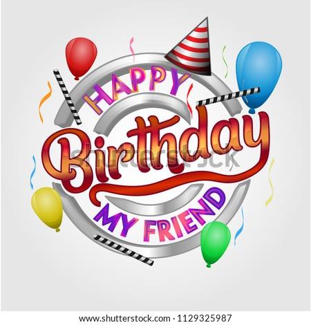 Happy Birthday my friend wish emblem
