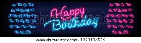 Happy Birthday Neon Script Alphabet with a Brick Wall Background. Vector font