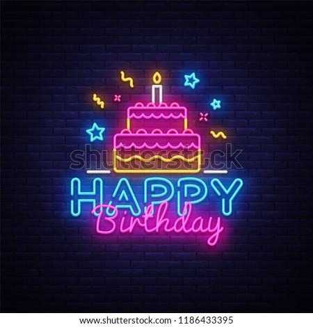 Happy Birthday Neon Text Vector. Happy Birthday neon sign, design template, modern trend design, night neon signboard, night bright advertising, light banner, light art. Vector illustration