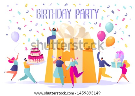 Happy Birthday party celebration with friends. People carry gifts and a big cake, blow their whistles, dance and celebrate the holiday. Anniversary confetti with happy funny flat cartoon characters.