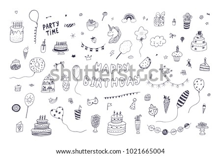 Happy Birthday Party Decoration Doodle Hand Drawn Vector Illustrations Set