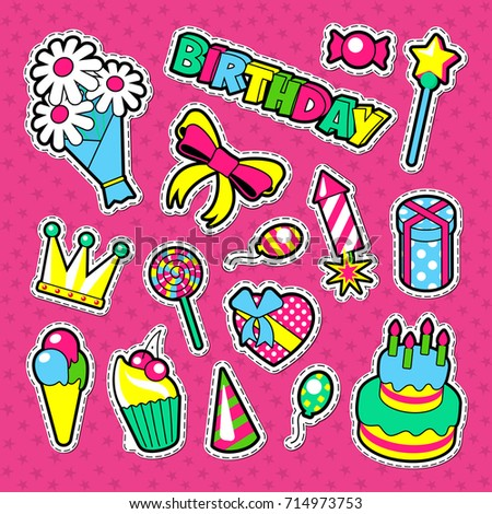 Happy Birthday Party Decoration Stickers. Kids Holiday Elements Set. Vector illustration #714973753