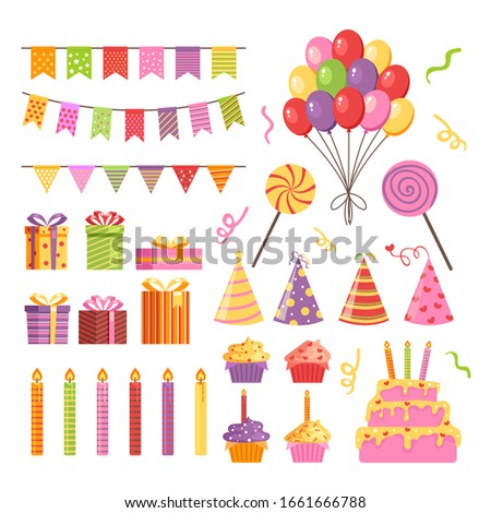 Happy birthday party icon element isolated set. Vector flat graphic design illustration