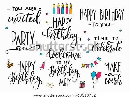 happy birthday party lettering