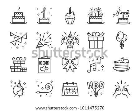 happy birthday party line icon