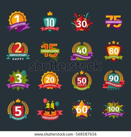 Happy birthday party with age letter celebration badges vector icons logo numbers new born day badges isolated on dark background