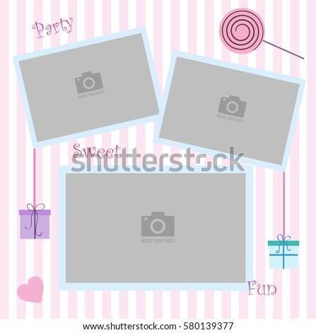 Happy Birthday photo frame and postcard. Decorations for birthday party. Pink and white stripe background vector. Template for children's photo album or postcard #580139377