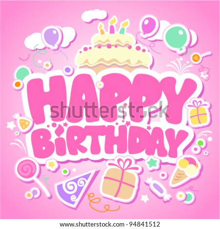 Happy Birthday pink card for girls.