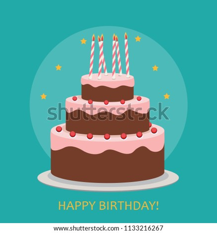 Happy Birthday Poster Background with Cake. Vector Illustration EPS10