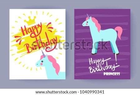 Happy birthday princess, cute celebration banner, vector illustrations with lilac and white backdrops, blue unicorn with striped horn, golden crown - Shutterstock ID 1040990341