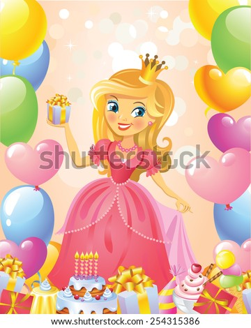 Happy Birthday Princess Greeting Card Ez Canvas