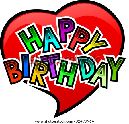 happy birthday red heart funny letters