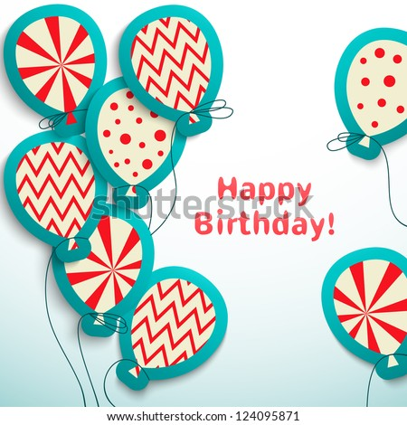 Happy birthday retro postcard with balloons. Vector illustration for your holiday presentation. Easy to use. Postcard picture in vintage color.