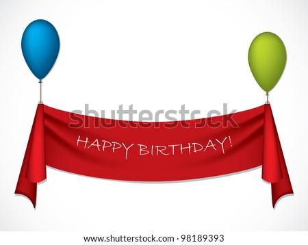 Happy birthday ribbon hanging on balloons