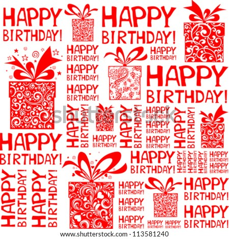 Happy birthday seamless background pattern. Vector Illustration