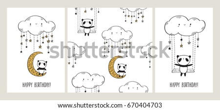 Happy Birthday. Set of Greeting cards with cute pandas on the moon and swing. Seamless pattern for gift wrap, textile or book covers, wallpapers and scrapbook. White background. Vector illustration.