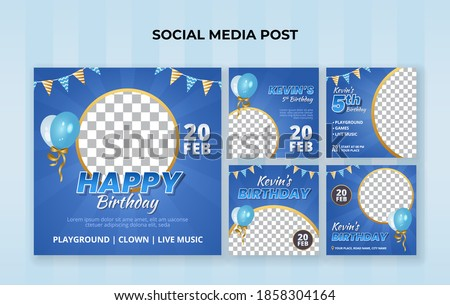 Happy birthday social media post template. Suitable for kids birthday invitation or any other kids event