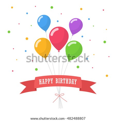 Happy birthday text box, Color balloon with white background.
