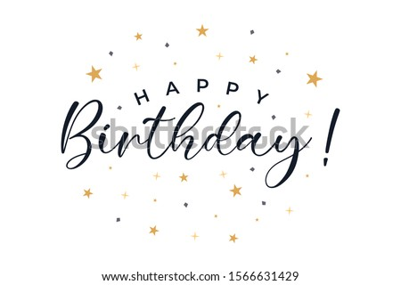 Happy Birthday text lettering calligraphy with gold stars ornament isolated on white background. Greeting Card Vector Illustration.