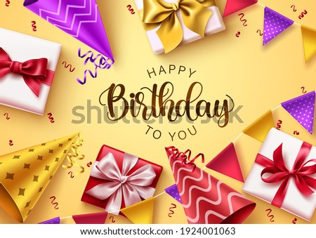 Happy birthday text vector background design. Birthday typography in yellow background with colorful party elements and gifts for greeting card decoration. Vector illustration