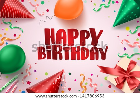 Happy birthday text vector banner design. Birthday greetings card in pink background with colorful elements like balloons, hats, candles, gift and confetti for holiday celebration. Vector illustration