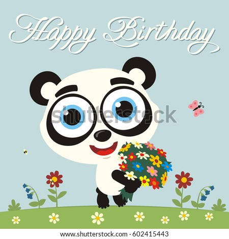 Happy Birthday To You Funny Panda Bear With Flowers Greeting Card