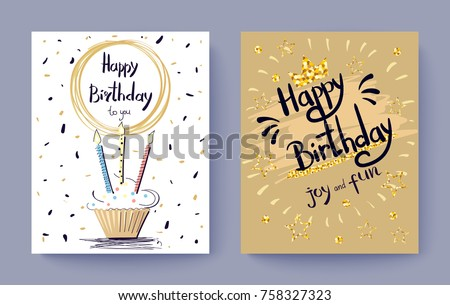 Happy Birthday to you joy and fun festive postcard decorated with golden stars and cake with burning candles. Vector illustration with set of two posters