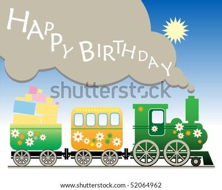 Открытки с днем рождения с паровозами