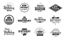 Happy Birthday typographic set. Vector design for greeting cards, print and cloths. Isolated lettering compositions.